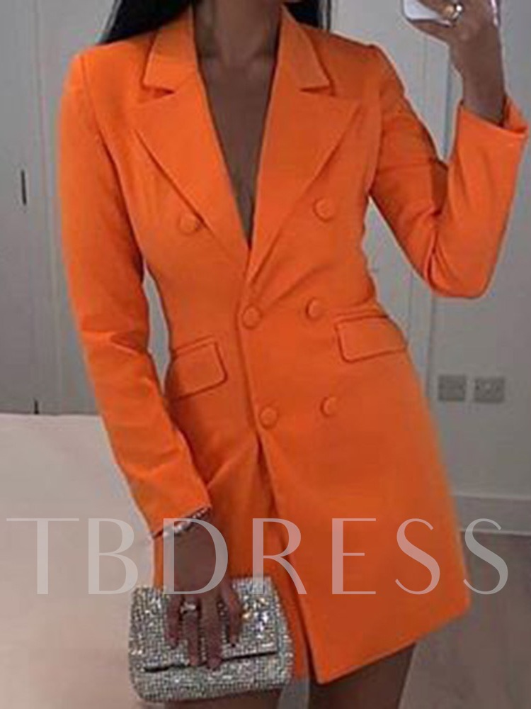 Plain Notched Lapel Long Sleeve Double-Breasted Mid-Length Women's Casual Blazer