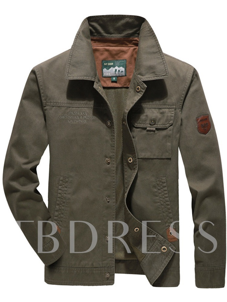 Plain Thick Lapel Pocket Fall Men's Jacket