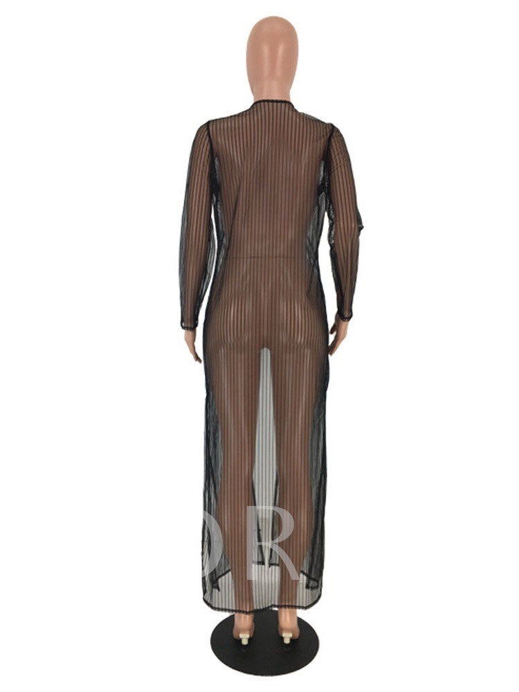 See-Through Wrapped Long Summer Women's Trench Coat