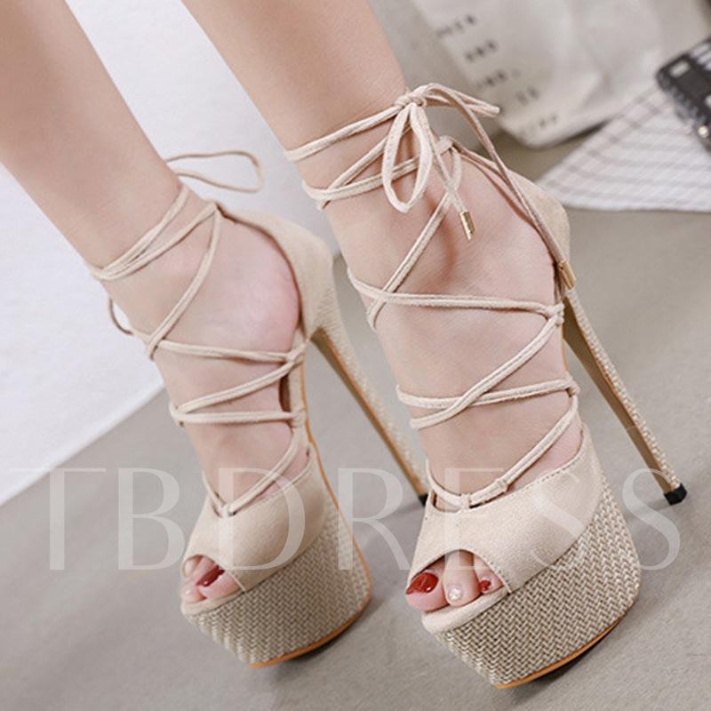 Lace-Up Stiletto Heel Heel Covering Peep Toe Western Sandals