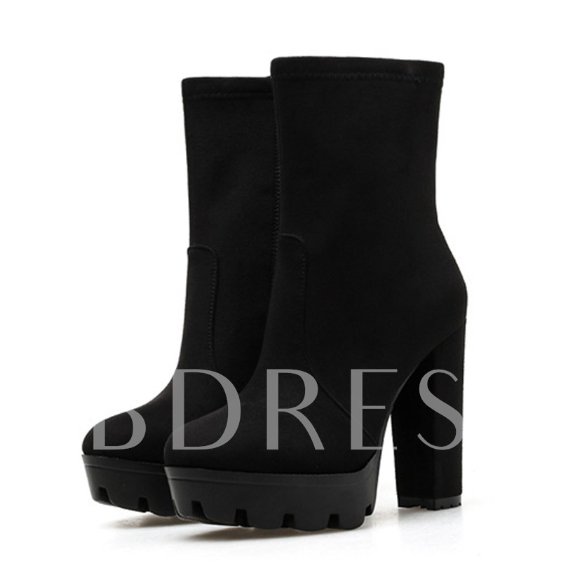 Chunky Heel Round Toe Plain Side Zipper Western Boots