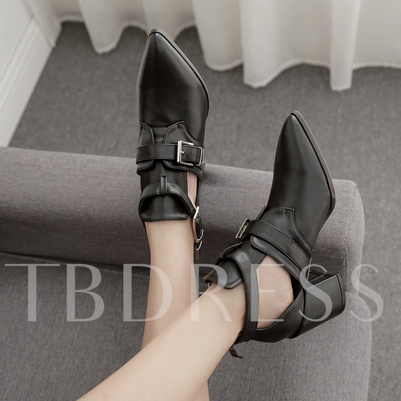 Chunky Heel Pointed Toe Plain Hasp Hollow Boots