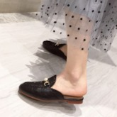 Flat With Closed Toe Beads Slip-On Women's Mules