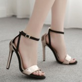 Stiletto Heel Open Toe Line-Style Buckle Heel Covering Metallic Sandals