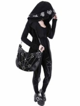 Halloween Costume Long Hooded Wrapped Print Long Sleeve Women's Trench Coat