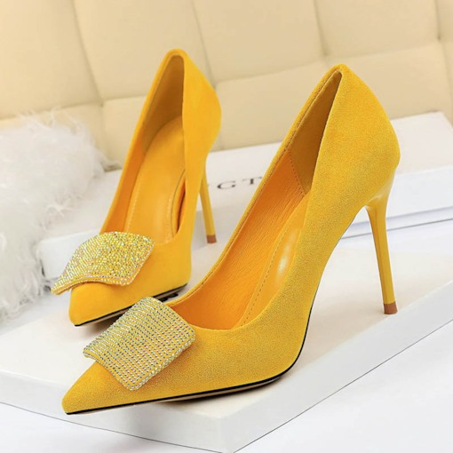 Slip-On Rhinestone Stiletto Heel Pointed Toe Banquet Pumps