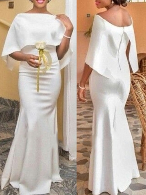 Bateau Neck Mermaid African Formal Evening Dress 2019