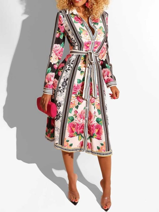 Print Lapel Long Sleeve Mid-Calf Floral Women's Maxi Dress