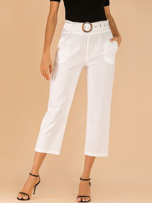 Plain Slim Pocket Straight Women's Casual Pants