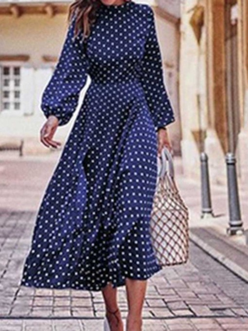 Stand Collar Mid-Calf Print Pullover Women's Long Sleeve Dress