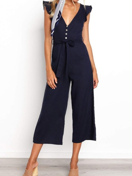 Mid-Calf Button Plain Fashion Wide Legs Women's Jumpsuit