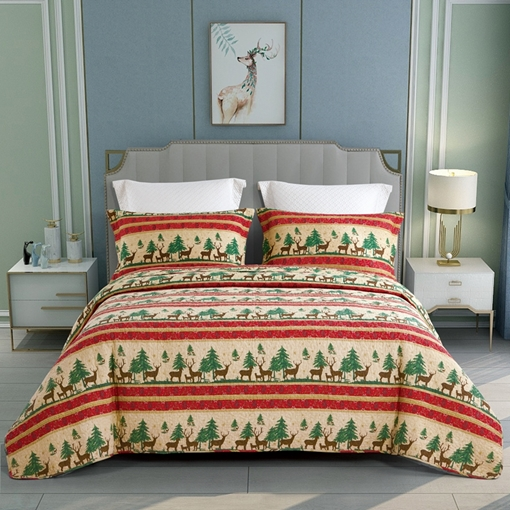 Cotton Christmas Wash Comforter Set Three-Piece Set Reactive Printing