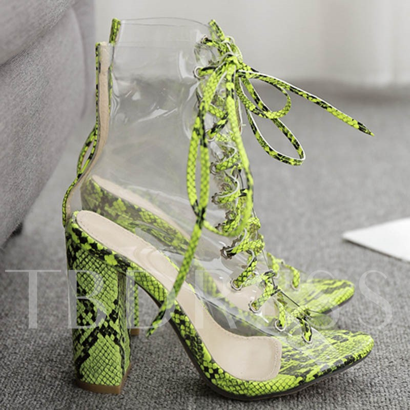 Neon Round Toe Lace-Up Front Chunky Heel Ankle Boots
