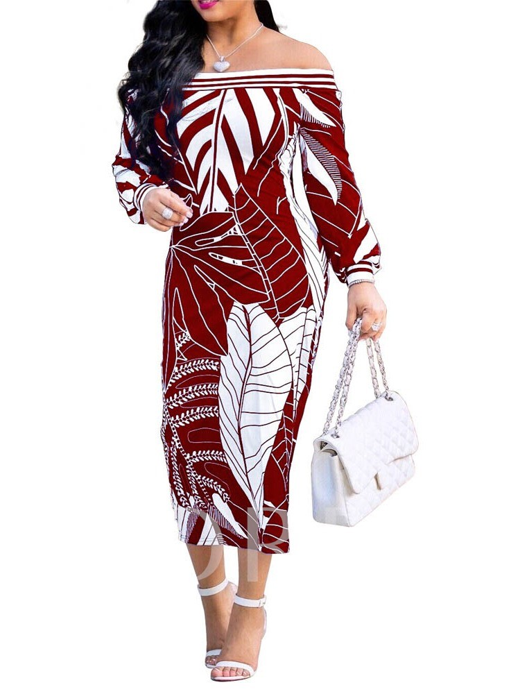 Mid-Calf Print Off Shoulder Long Sleeve Pullover Women's Bodycon Dress
