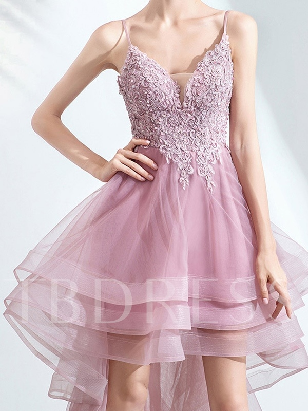 Beading Spaghetti Straps Asymmetry Homecoming Dress 2019