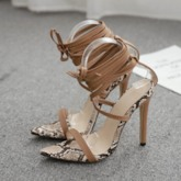 Open Toe Stiletto Heel Lace-Up Heel Covering Sexy Sandals