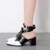 Strappy Buckle Chunky Heel Pointed Toe Sandals