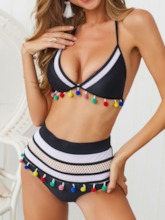 Sexy Color Block Tankini Set Lace-Up Women's Swimwear