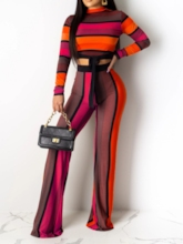Pants Print Fashion Color Block Straight Women's Two Piece Sets