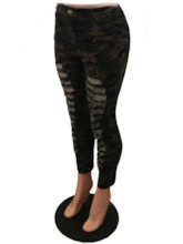 Skinny Hole Camouflage Pencil Pants Women's Casual Pants