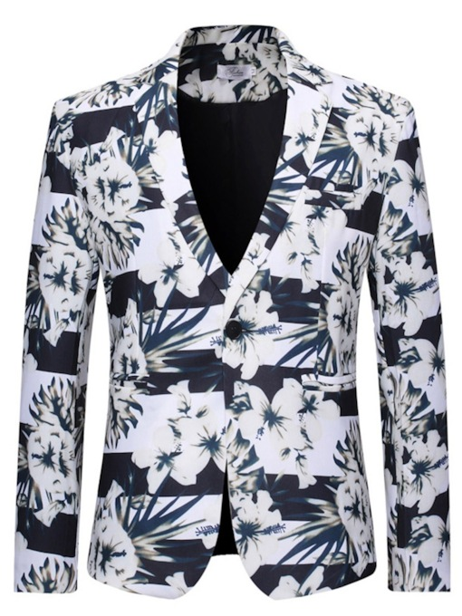 One Button Notched Lapel Print Floral Men's Leisure Blazers