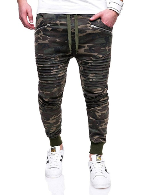 Zipper Camouflage Casual Men's Pants