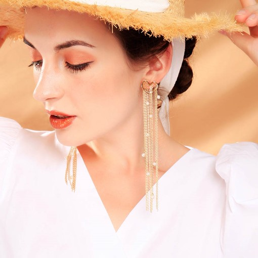 Sweet Plain Bronze Tassel Wedding Drop Earrings