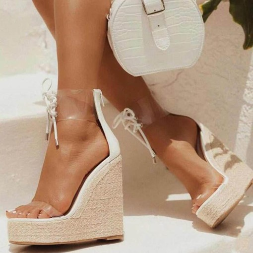 Zipper Heel Covering Wedge Heel Round Toe Vintage Sandals
