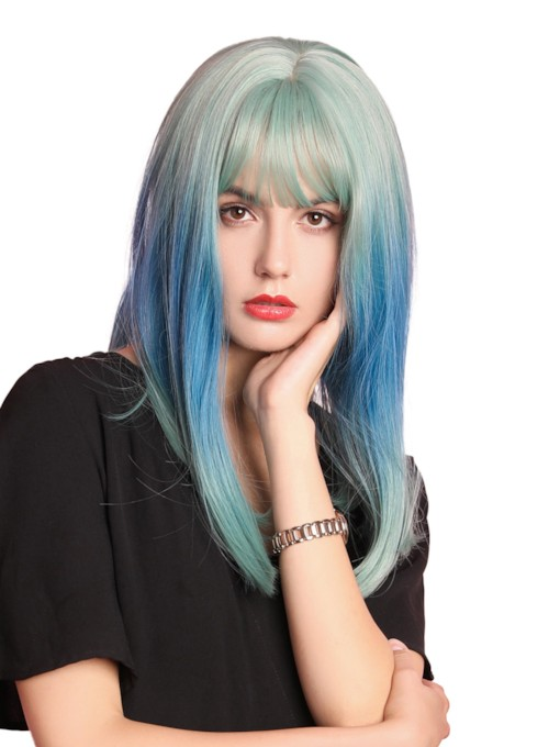 Halloween Costume Cosplay Women's Medium Mixed Color Cosplay Hairstyles Straight Synthetic Hair Capless Wigs 16Inches