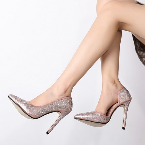 Rhinestone Stiletto Heel Slip-On Thread Pointed Toe Pumps