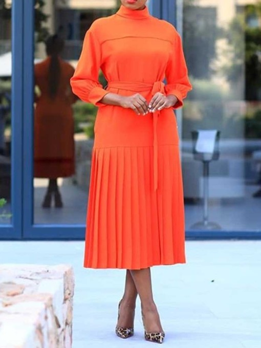 Stand Collar Pleated Standard-Waist Women's Long Sleeve Dress