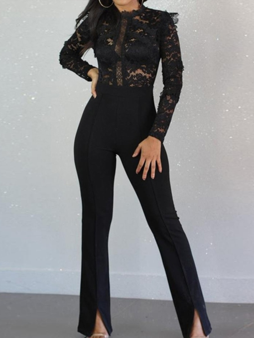 Plain Fashion Full Length Lace Slim Women's Jumpsuit