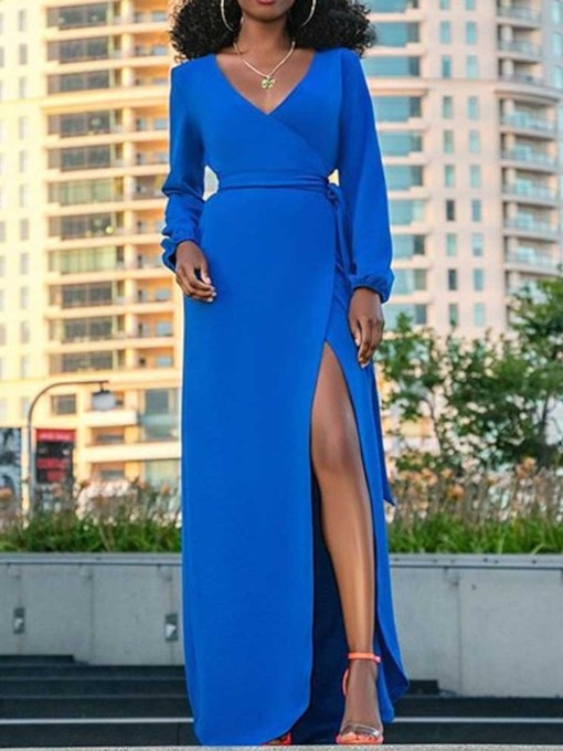 Long Sleeve Floor-Length V-Neck Split High Waist Women's Maxi Dress