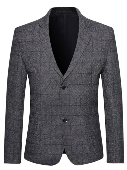 Button Slim Plaid Fashion Men's Blazer