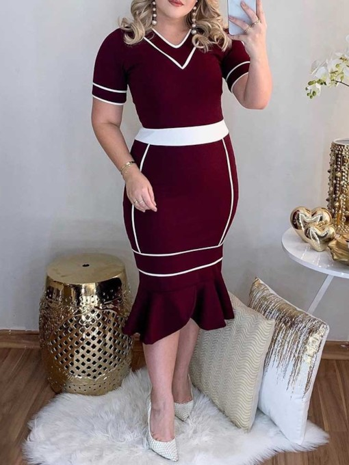 V-Neck Short Sleeve Mid-Calf Standard-Waist Women's Bodycon Dress