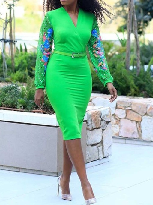 V-Neck Mid-Calf Print Standard-Waist Women's Long Sleeve Dress