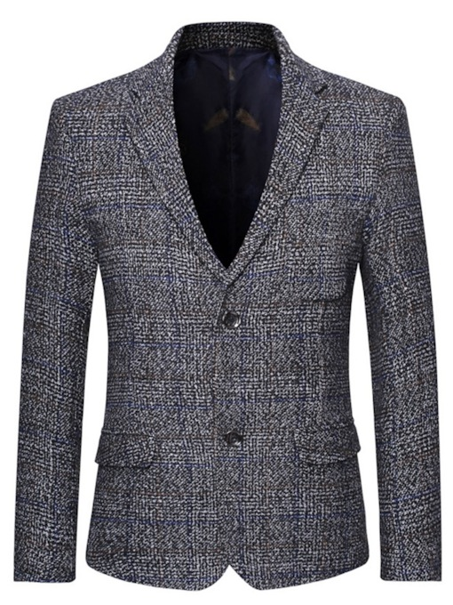 Single-Breasted Notched Lapel Plaid European Men's Leisure Blazers