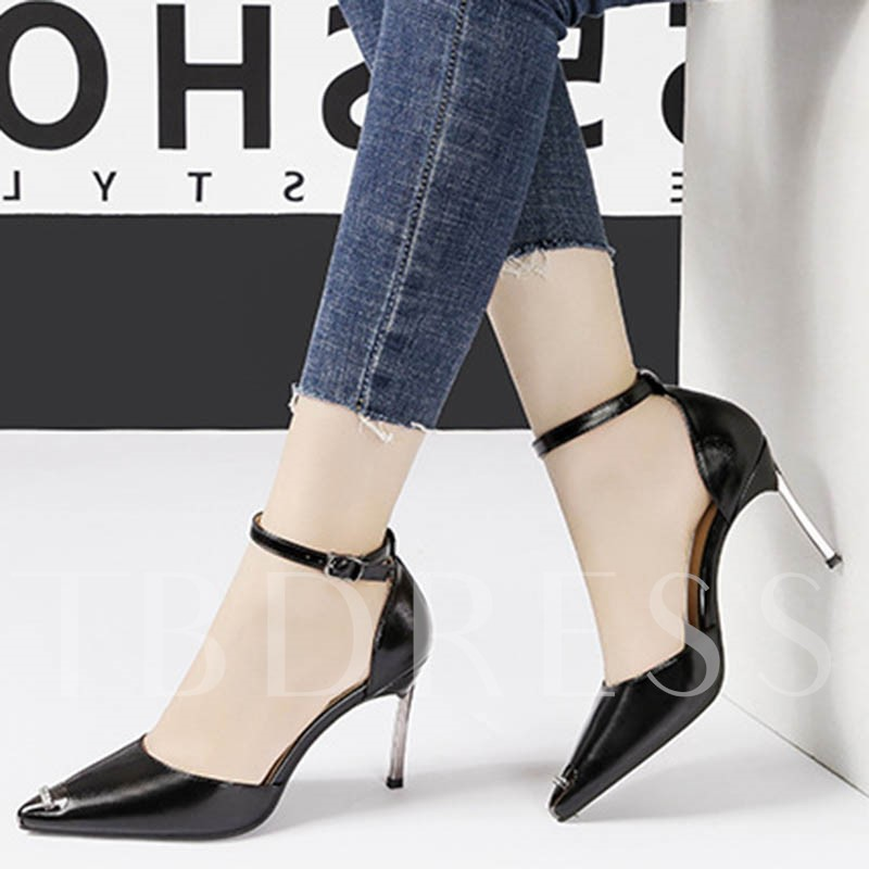 Pointed Toe Stiletto Heel Rhinestone Line-Style Buckle Pumps