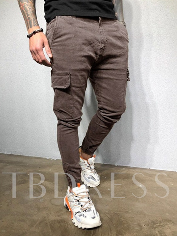 Plain Overall Pocket Casual Men's Casual Pants