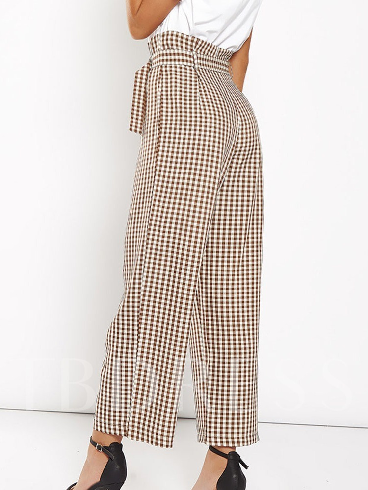 Loose Plaid Mid-Calf Women's Casual Pants