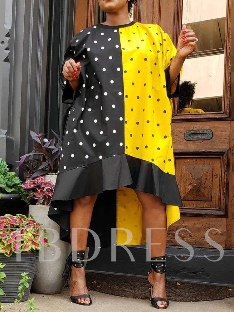 Round Neck Print Polka Dots Women's Long Sleeve Dress
