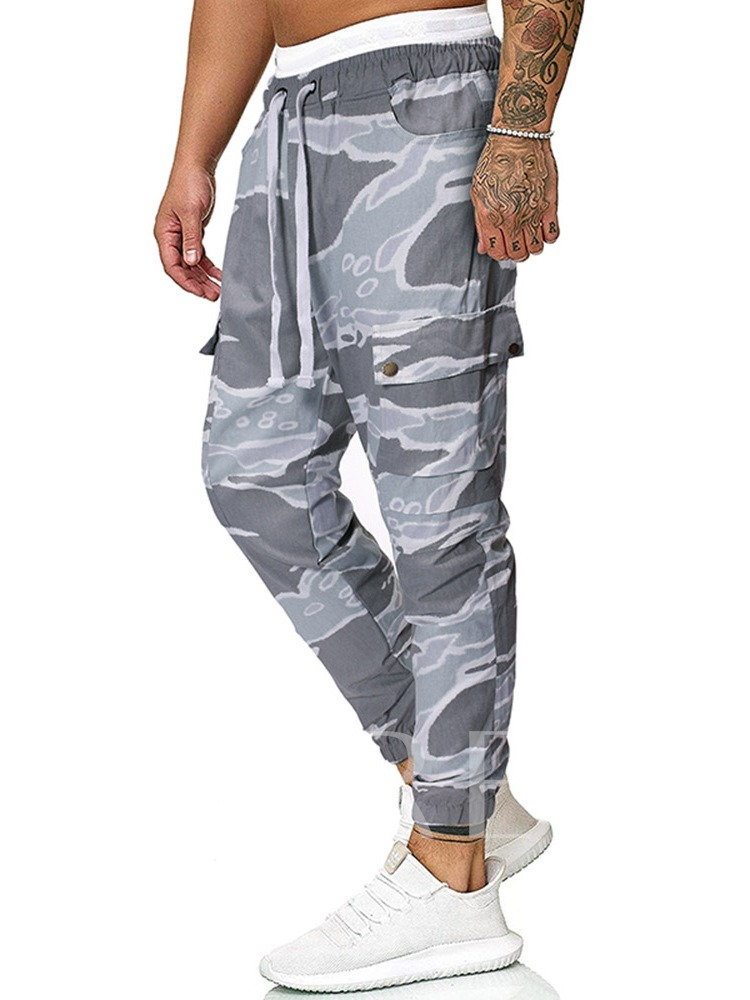 Overall Color Block Print Casual Men's Casual Pants