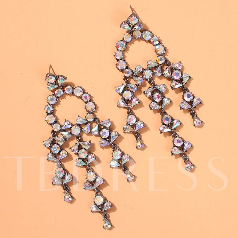 European Diamante Alloy Party Drop Earrings