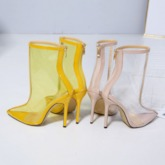 Neon Pointed Toe Stiletto Heel Back Zip Patchwork Ankle Boots