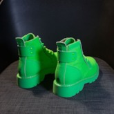 Neon Lace-Up Front Plain Round Toe Martin Boots