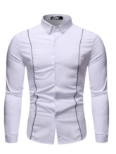 Color Block Casual Lapel Patchwork Men's Shirt