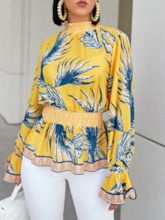 Plant Print Stand Collar Long Sleeve Women's Blouse