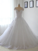 Cap Sleeves Beading Appliques Wedding Dress