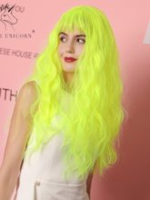 Halloween Sexy Women's Fluorescent Green Water Wave Synthetic Hair Capless Cosplay Wigs Costume Party 22Inches