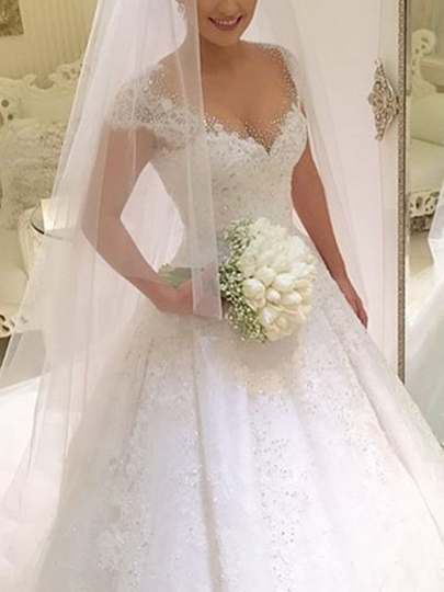 Cap Sleeve Beading Lace Ball Gown Wedding Dress Cap Sleeve Beading Lace Ball Gown Wedding Dress